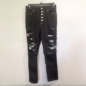 BDG   Urban Outfitters Dark Metallic Ripped Jeans